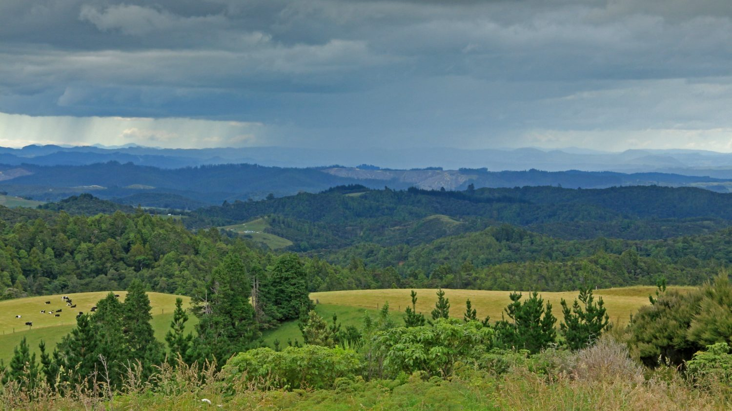 A storm in the distance at the Battlefield Historic Reserve, Far North District, New Zealand