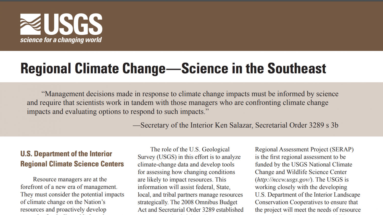Fact Sheets – Southeast Climate Adaptation Science Center