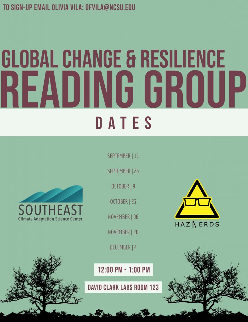 Flyer promoting the Global Change and Resilience Reading Group. The meeting dates listed are 9/25, 10/9, 10/23, 11/6, 11/20, and 12/4.