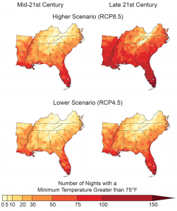Figure 19.5 from the NCA4, Volume II, depicting the projected number of warm nights under RCP 4.5 and 8.5.
