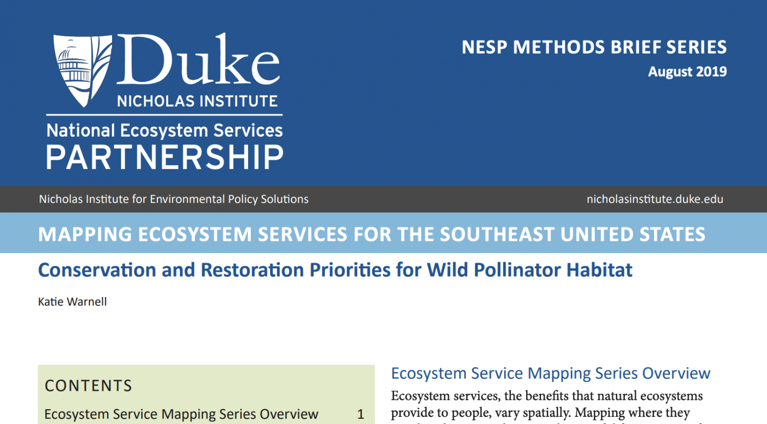 Mapping Ecosystem Services Methods Brief report preview