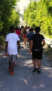 A group of students walking together.