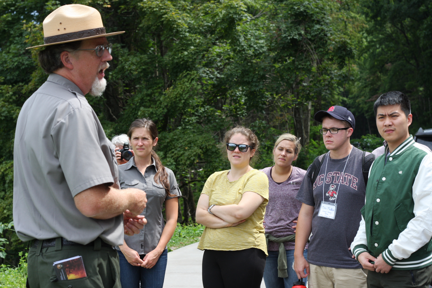 Fall 2018 Global Change Fellows speak with a national park manager.